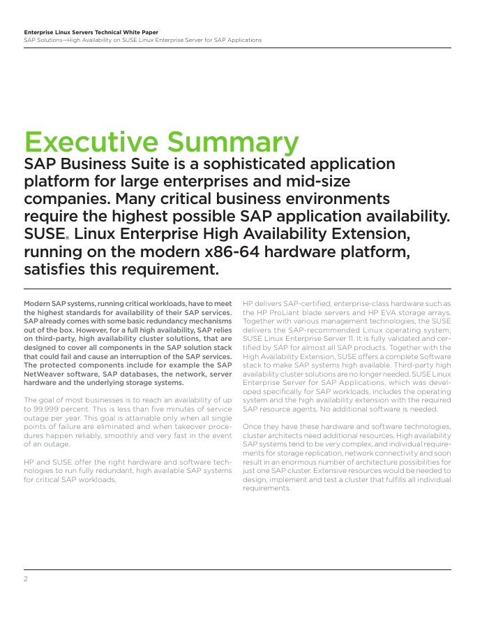 White Paper: High Availability for SAP Applications