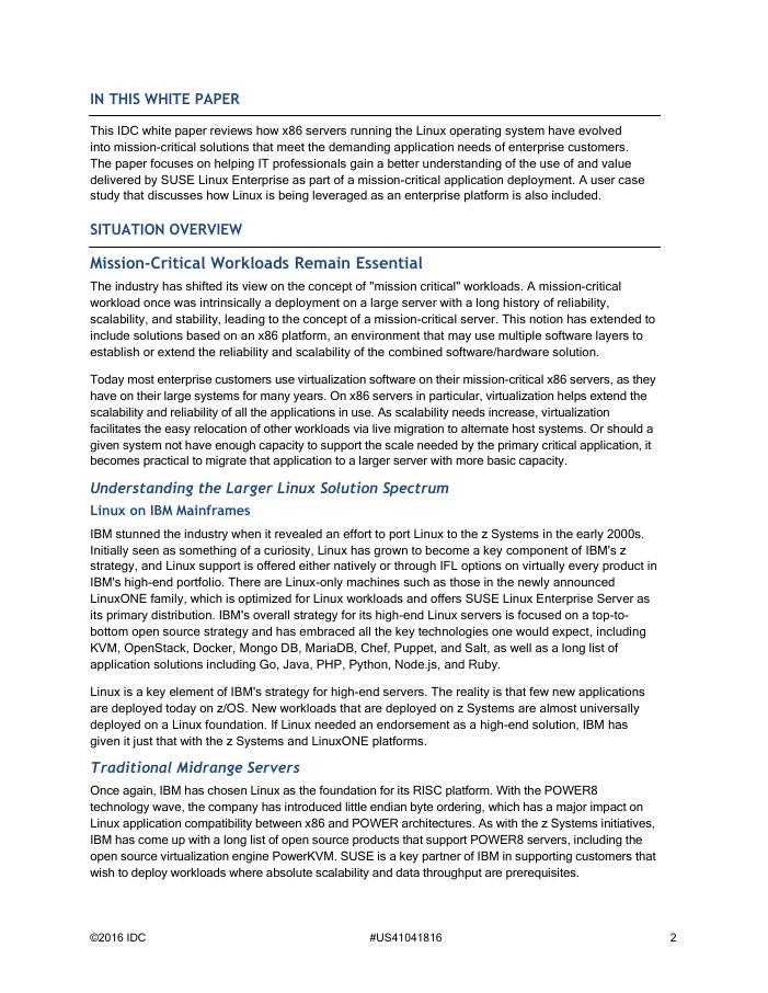 SUSE Linux Enterprise as a Mission-Critical Enterprise Server