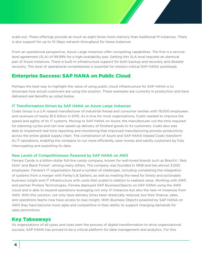 Evaluating SAP HANA on Public Cloud