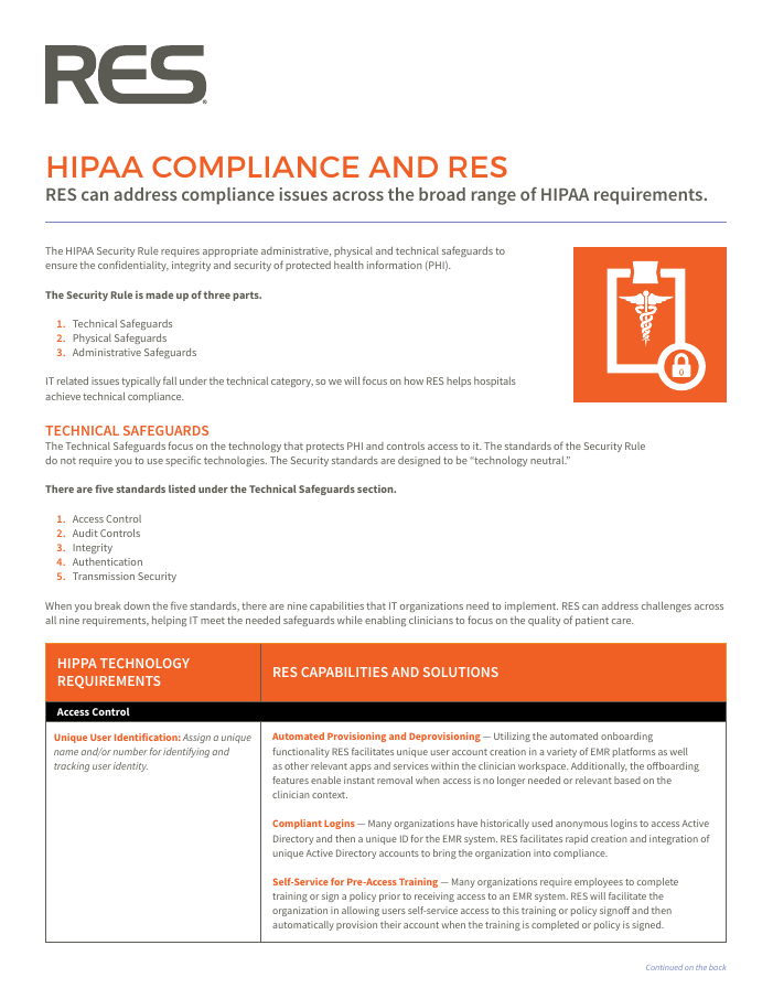HIPAA Compliance and RES