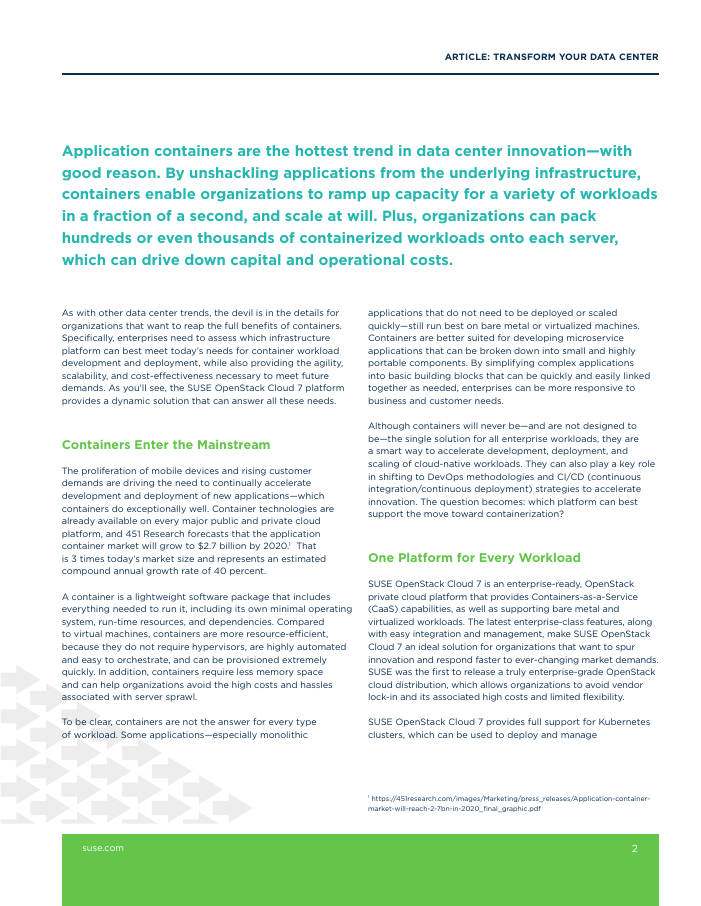 White Paper: Transform Your Data Center with Kubernetes as a Service on SUSE OpenStack Cloud 7