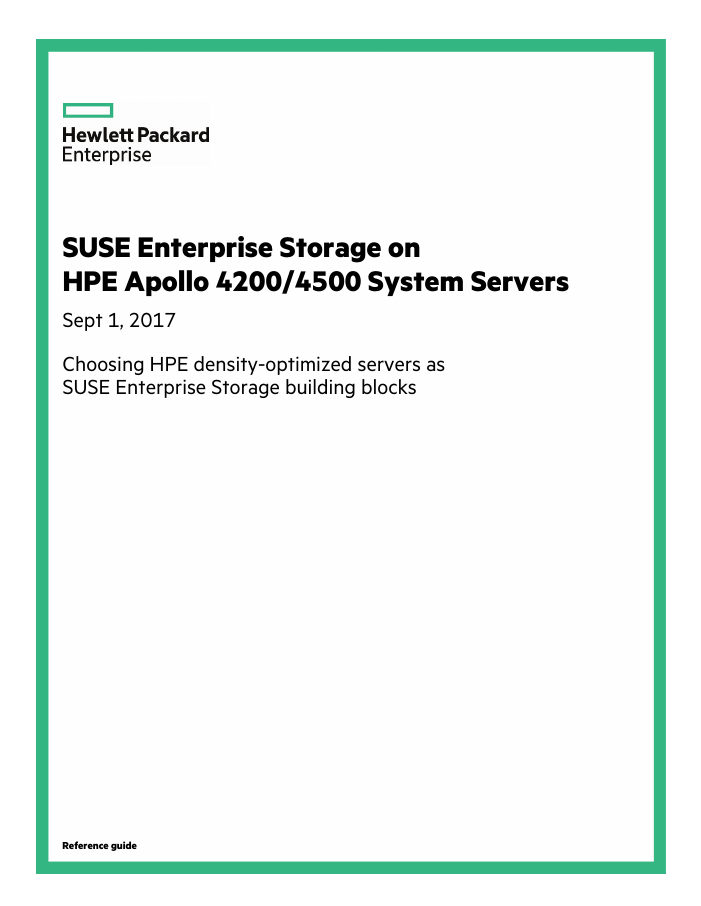 Reference Architecture: SUSE Enterprise Storage on HPE Apollo 4200/4500 System Servers