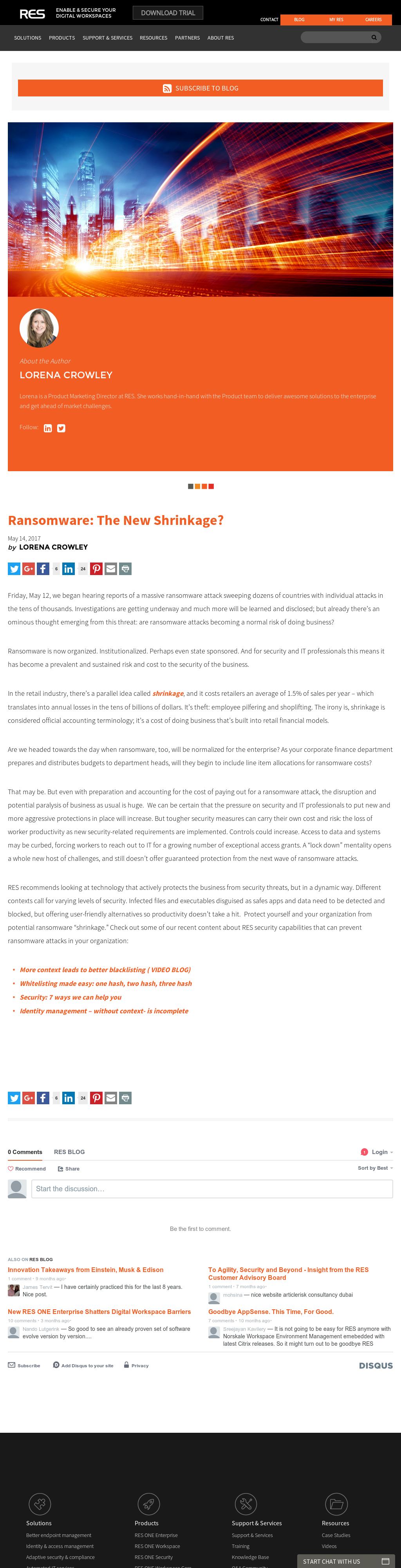 [Blog] Ransomware: The New Shrinkage?
