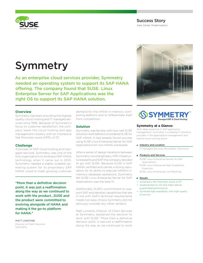 Success Story: Symmetry