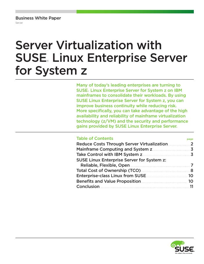Server Virtualization on System z