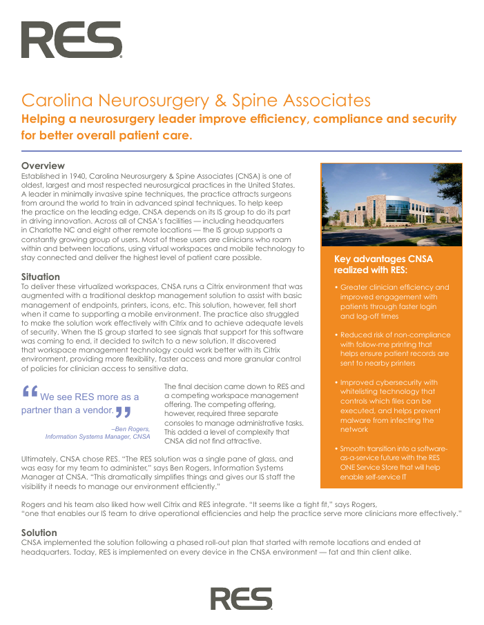 Helping a neurosurgery leader improve efficiency, compliance and security