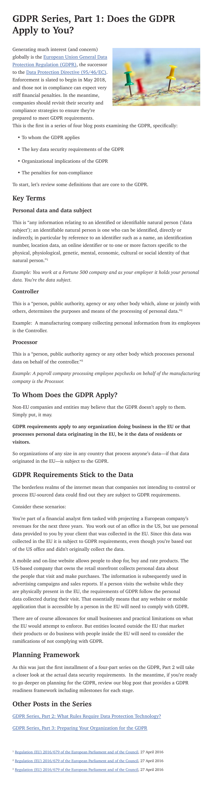 Blog 1: Does the GDPR Apply to You?
