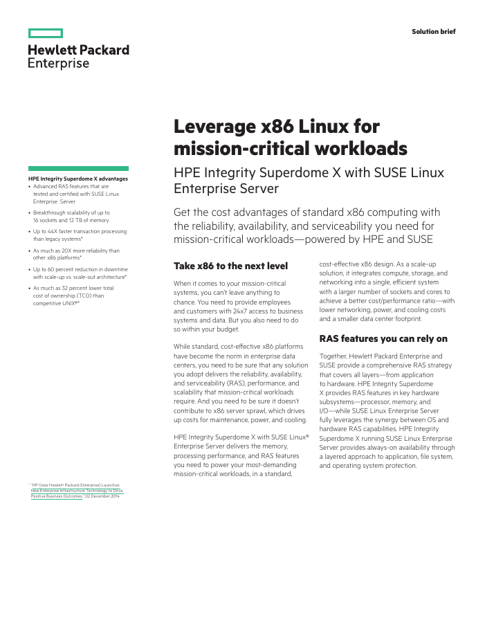 Solution Brief: Leverage x86 Linux for Mission-Critical Workloads