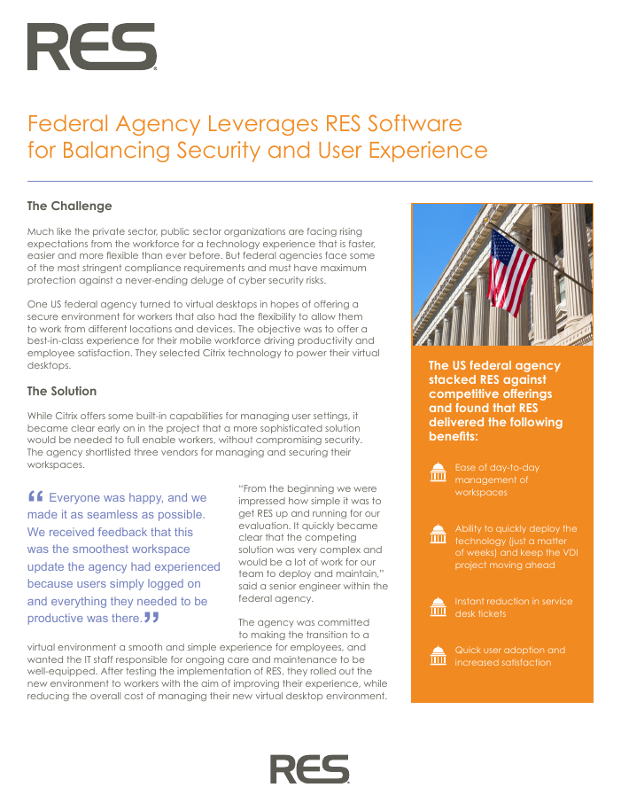 Federal Agency Leverages RES for Balancing Security and User Experience