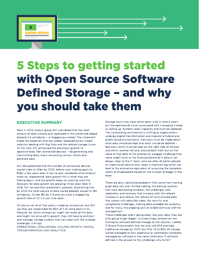 5 Steps to Getting Started with Open Source Software-defined Storage