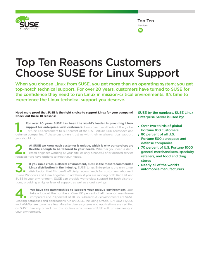 Top Ten Reasons to Choose SUSE for Linux Support