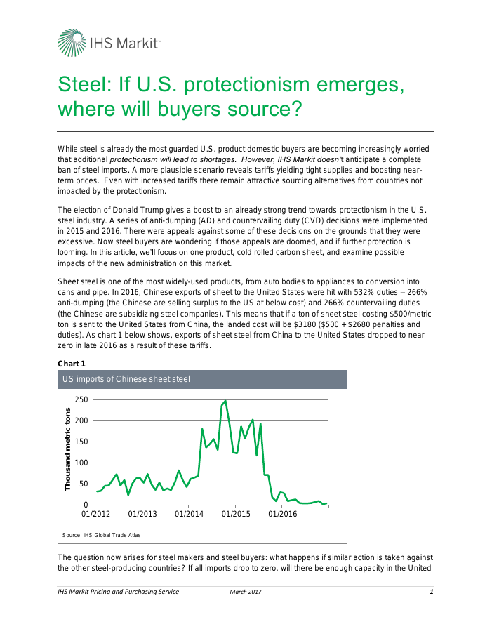 Steel: If US protectionism emerges, where will buyers source?