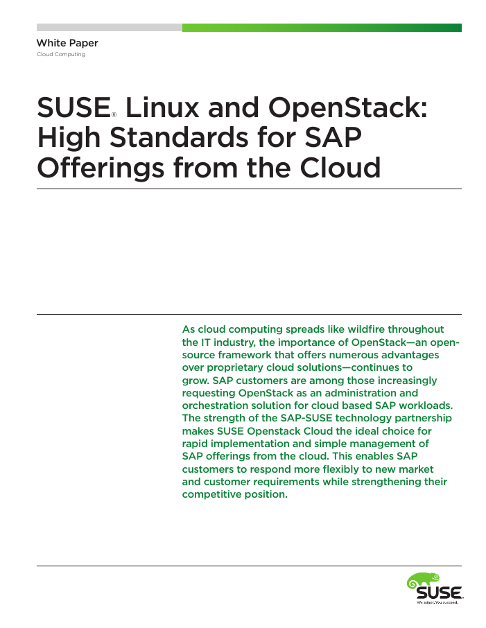 SAP + SUSE Linux and OpenStack