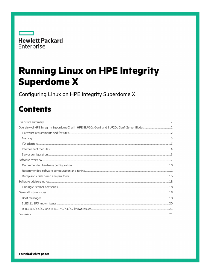 Technical White Paper: Running Linux on HPE Integrity Superdome X