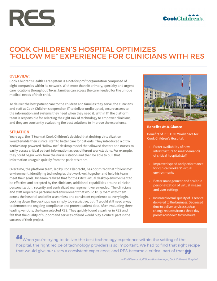 "Cook Children's Hospital Optimizes ""Follow Me"" Experience for Clinicians"