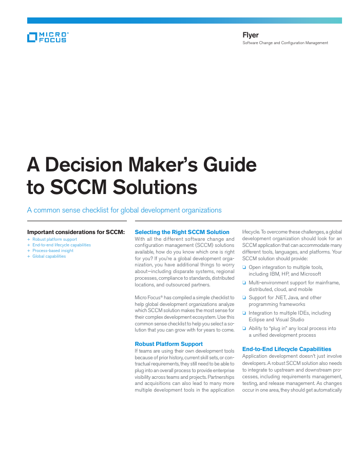 [Checklist] A Decision Maker's Guide to SCCM Solutions