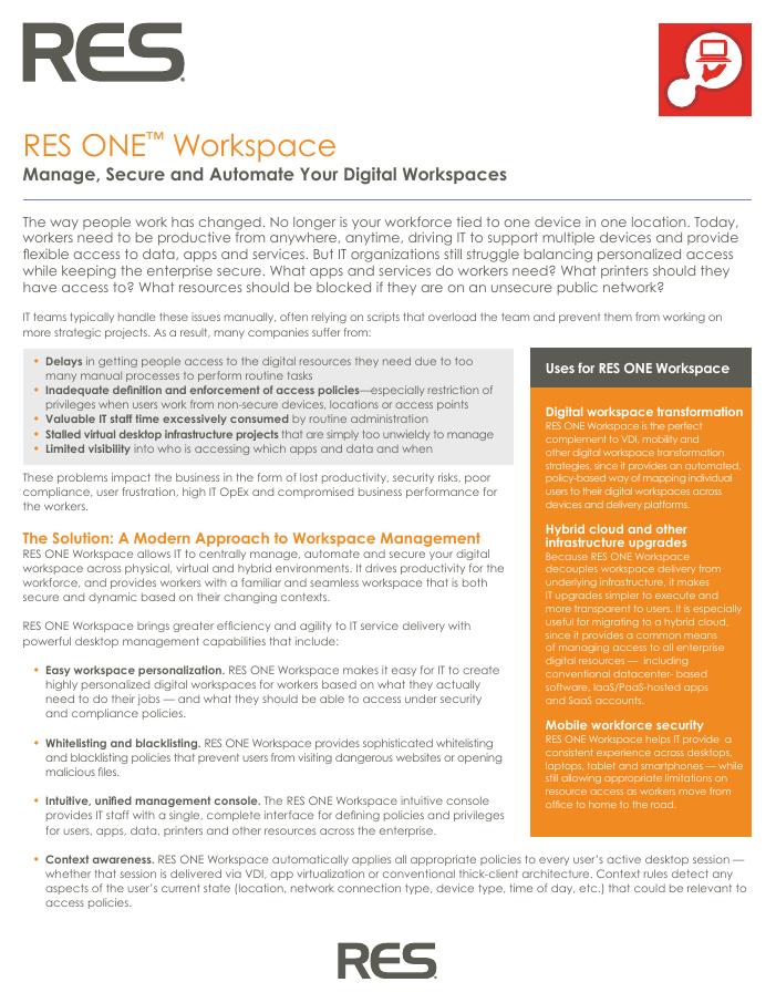 [Brochure] RES ONE Workspace