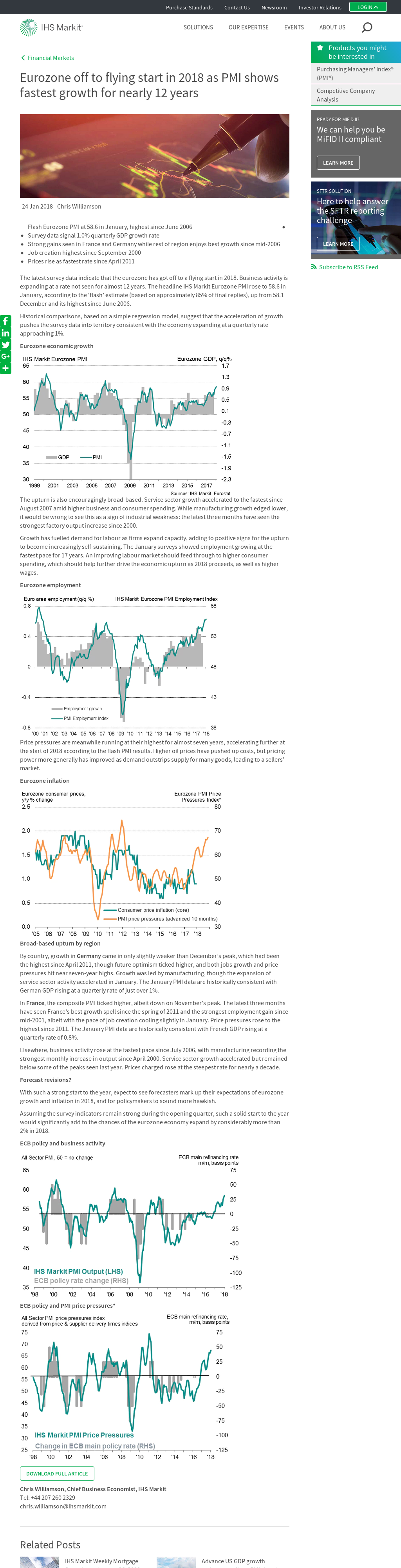 Latest PMI indicate Eurozone off to a flying start in 2018