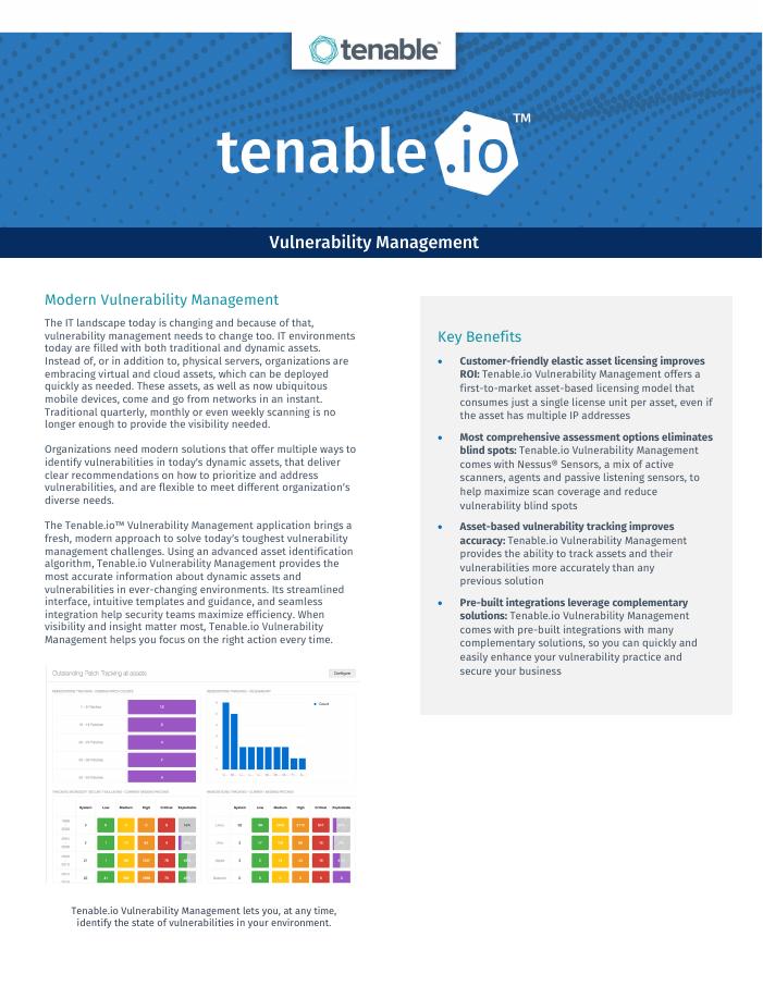 [Data Sheet] Tenable.io Vulnerability Management