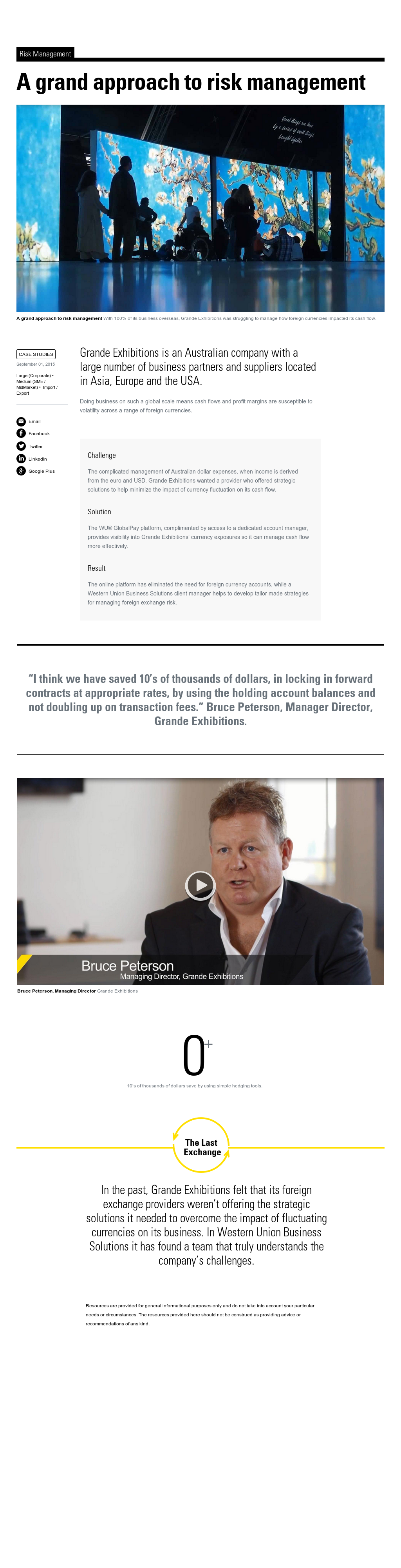 Case Study: Grande Exhibitions Approach to Risk Management