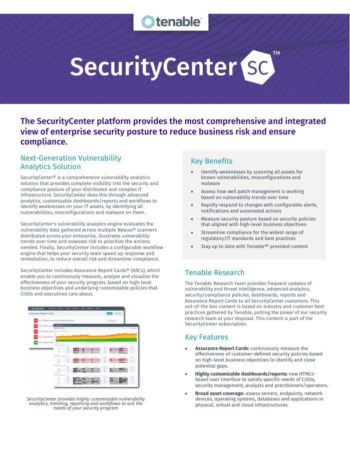 SecurityCenter Data Sheet