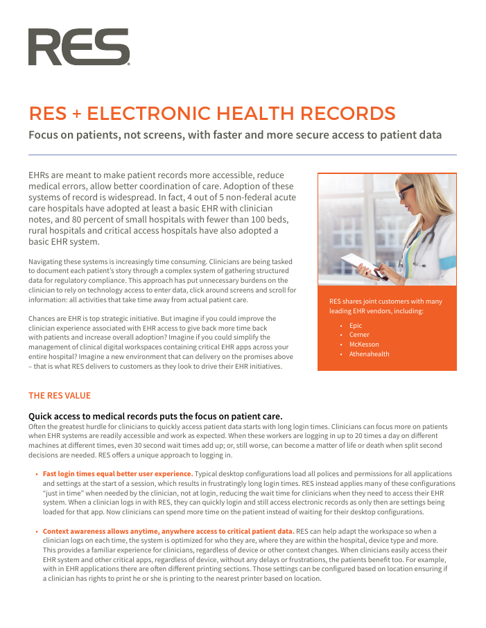 [Brochure] RES + EHR: Focus on patients, not screens