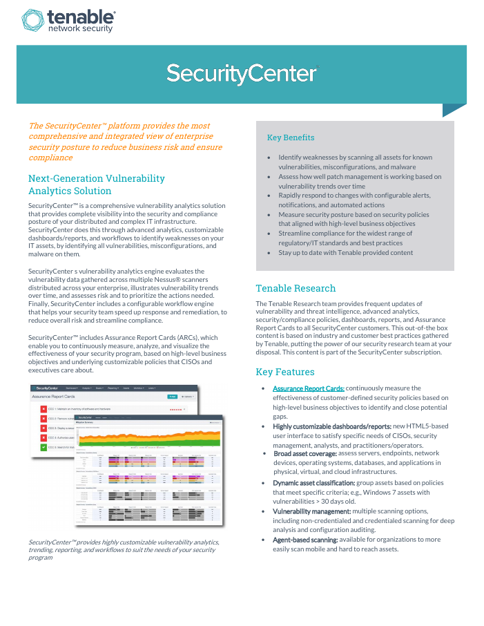 SecurityCenter Data Sheet