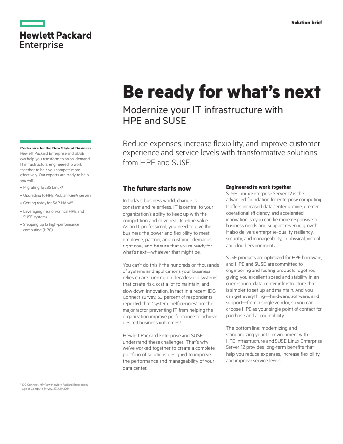 Solution Brief: Be ready for what's next