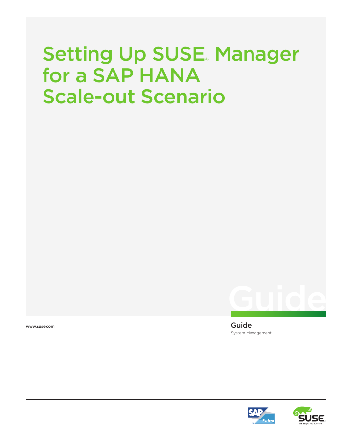 Setting Up a Scale-out Scenario with SUSE Manager