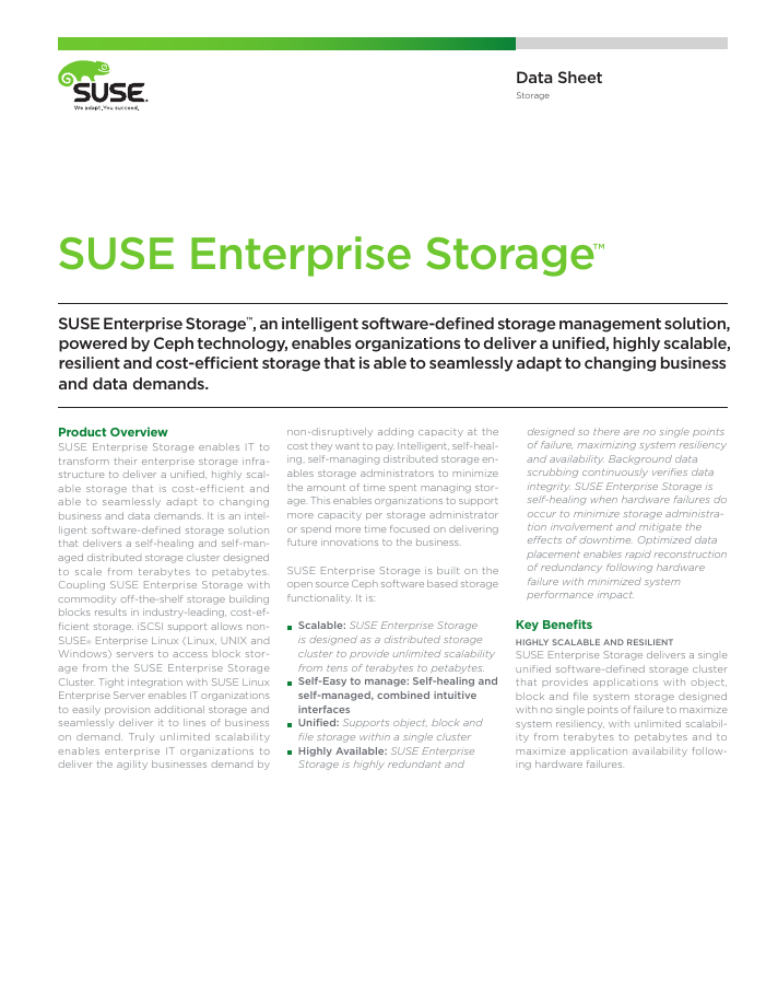 Data Sheet: SUSE Enterprise Storage