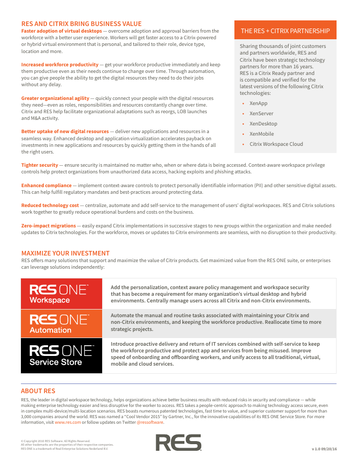 RES + CITRIX: Improve your digital workspaces, reduce costs and minimize risk