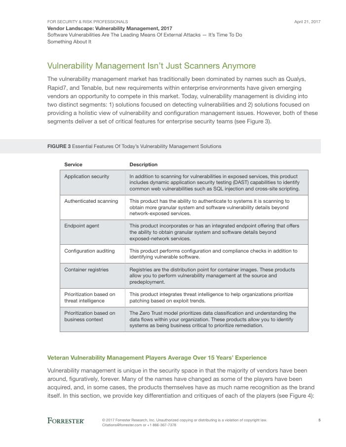 [Forrester Report] Vendor Landscape: Vulnerability Management 2017
