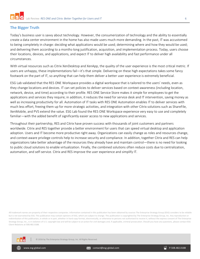 [Research Report] RES ONE and Citrix: Better Together for Users and IT