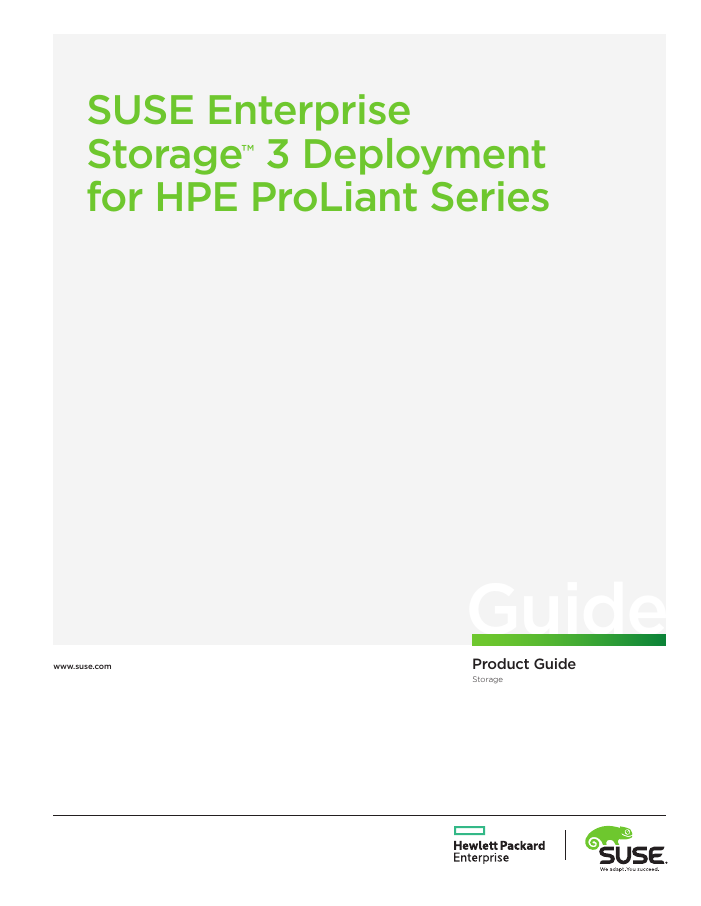 Product Guide: SUSE Enterprise Storage Deployment for HPE ProLiant Series