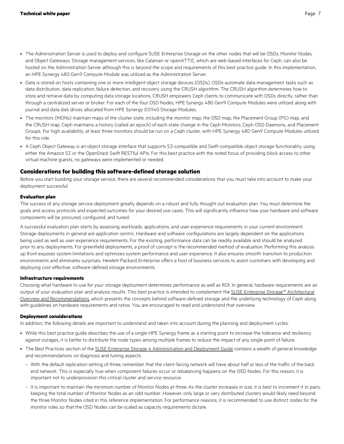 Technical White Paper HPE Best Practices for Deploying SUSE Enterprise Storage on HPE Synergy
