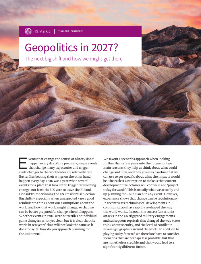 Geopolitics in 2027?