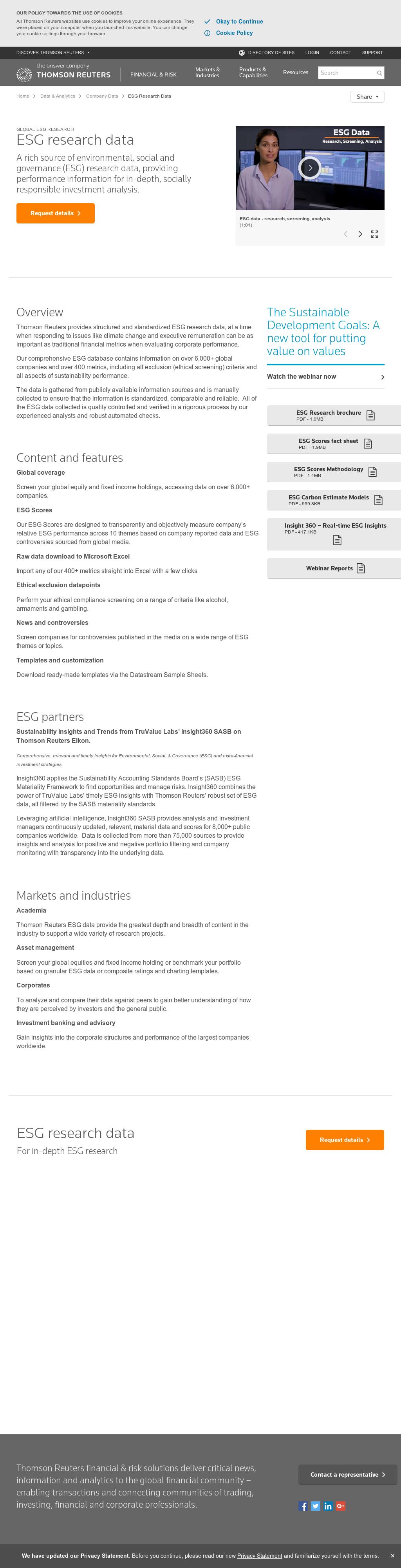 Request details about our ESG data
