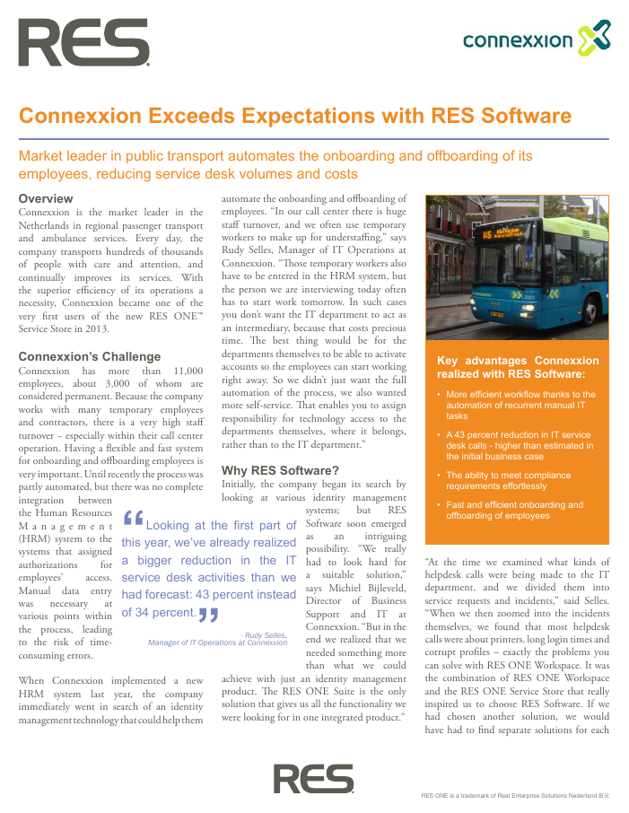 Connexxion Exceeds Expectations with RES