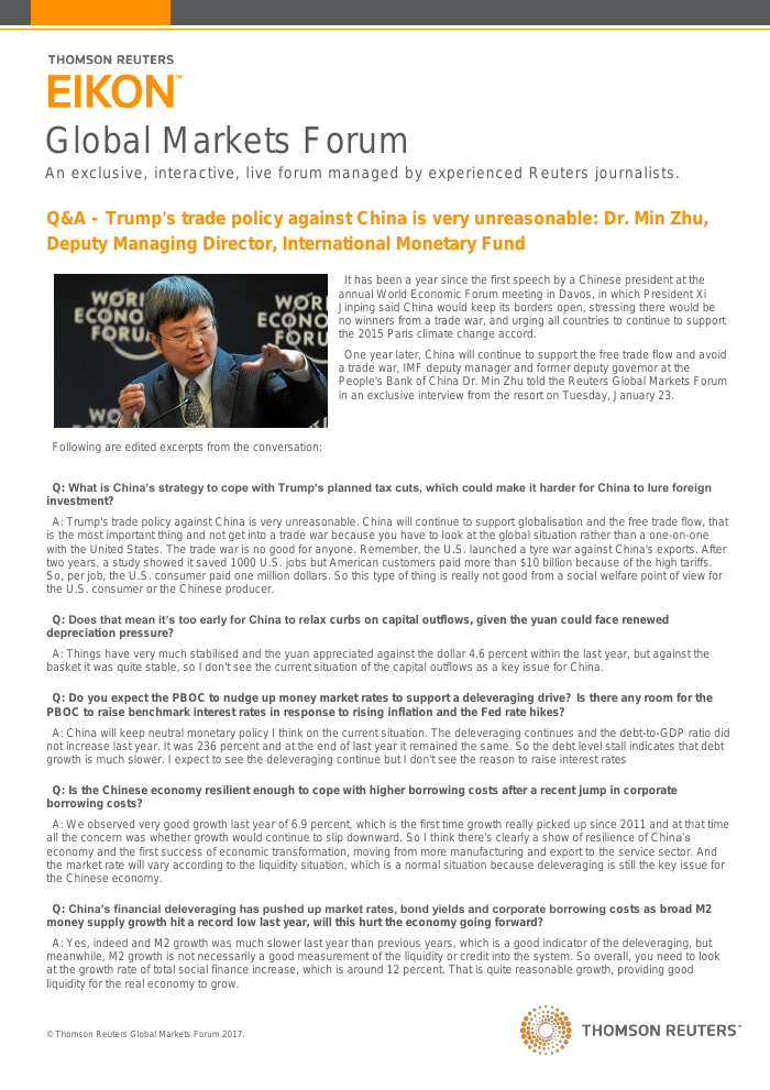Q&A - Trump's trade policy against China is very unreasonable: Dr. Min Zhu, Deputy Managing Director, International Monetary Fund