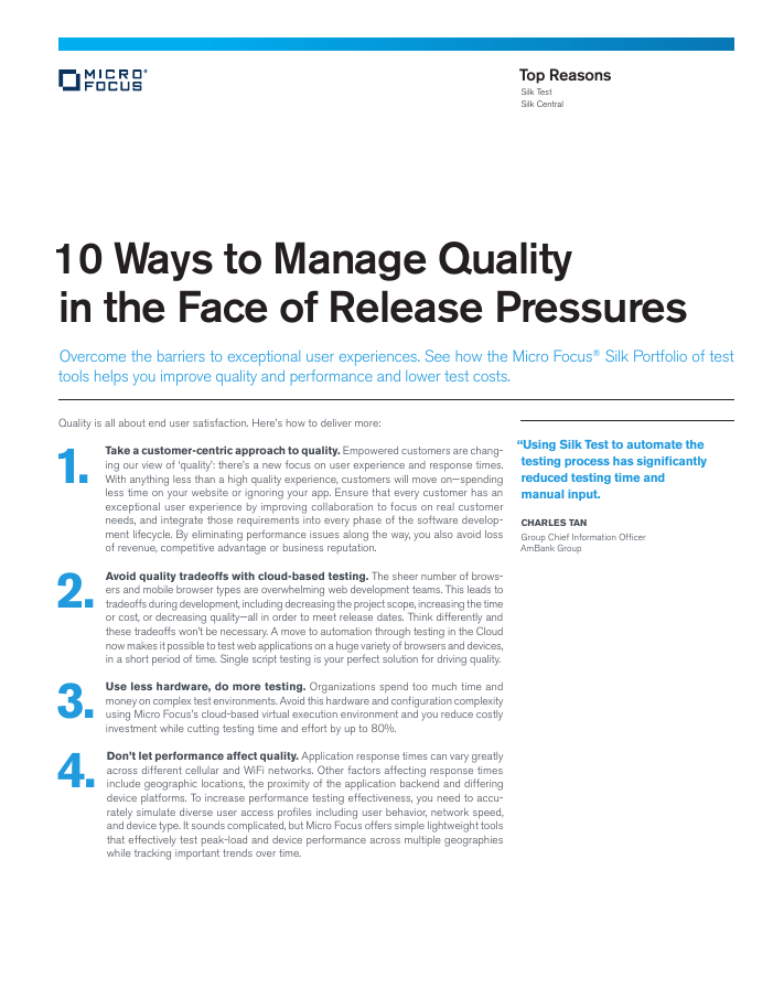 10 Ways to Manage Quality in the Face of Release Pressures