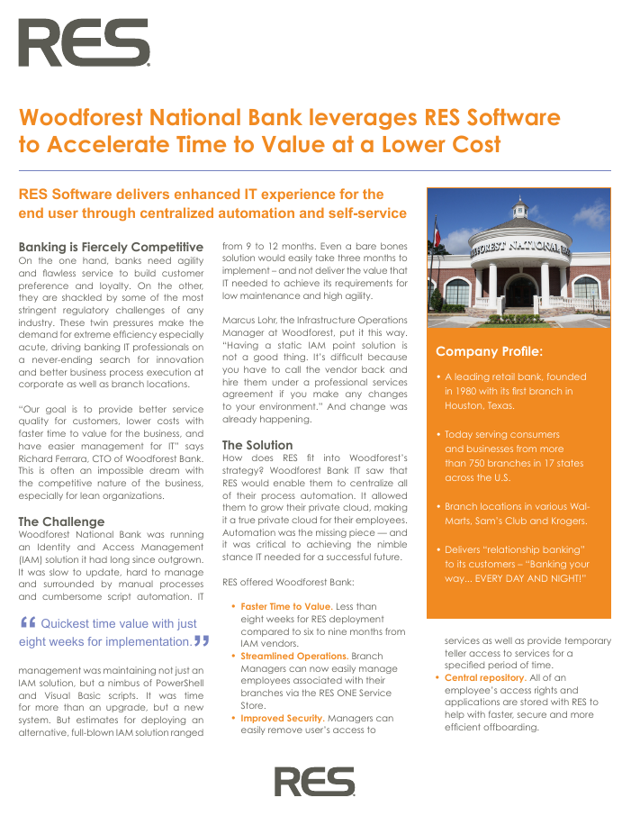 Woodforest National Bank Accelerates Time to Value at a Lower Cost