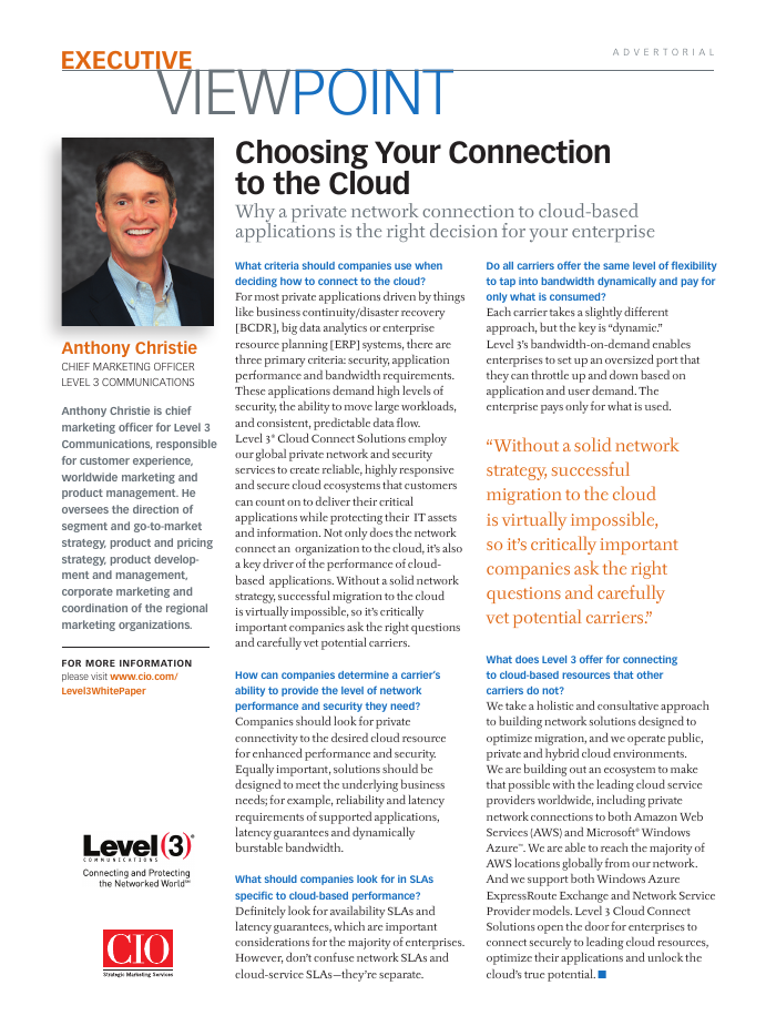 Choosing Your Connection to the Cloud