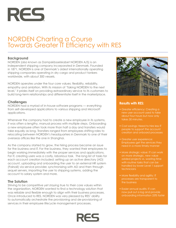 NORDEN Charting a Course Towards Greater IT Efficiency