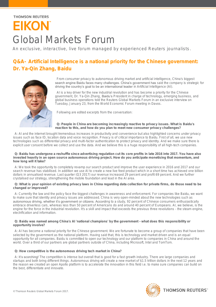Q&A- Artificial Intelligence is a national priority for the Chinese government: Dr. Ya-Qin Zhang, Baidu
