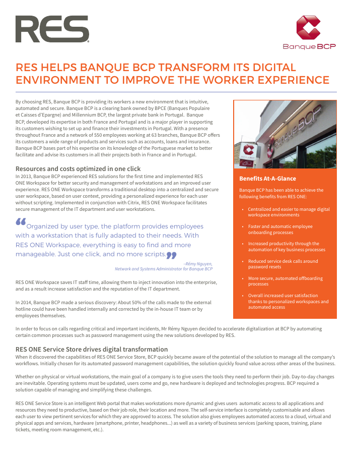 RES Helps Banque BCP Transform its Digital Environment