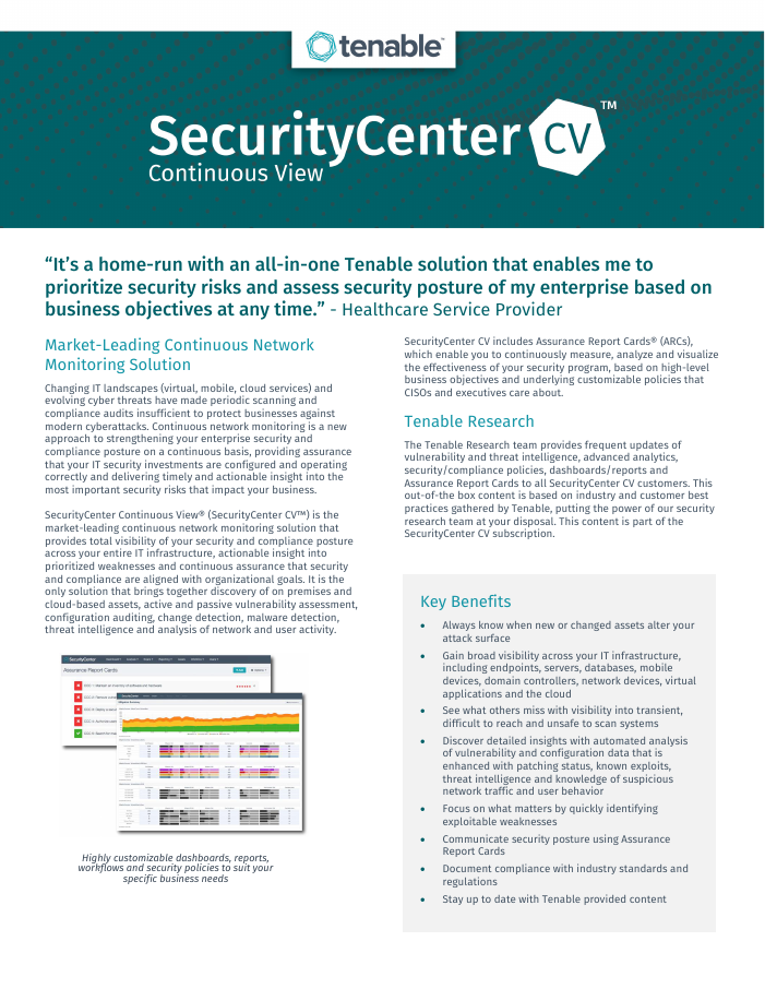 Data Sheet: SecurityCenter Continuous View (SCCV)