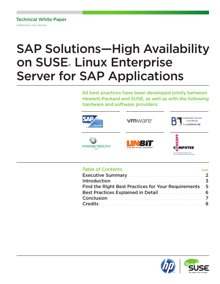 Best Practices: High Availability on SUSE for SAP Applications
