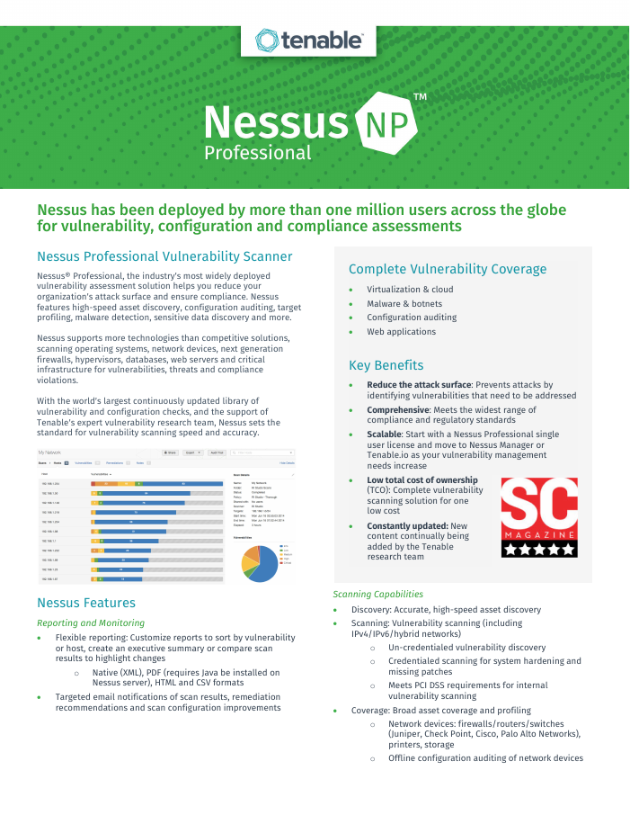 Nessus Professional - the most widely deployed vulnerability, configuration and compliance scanner
