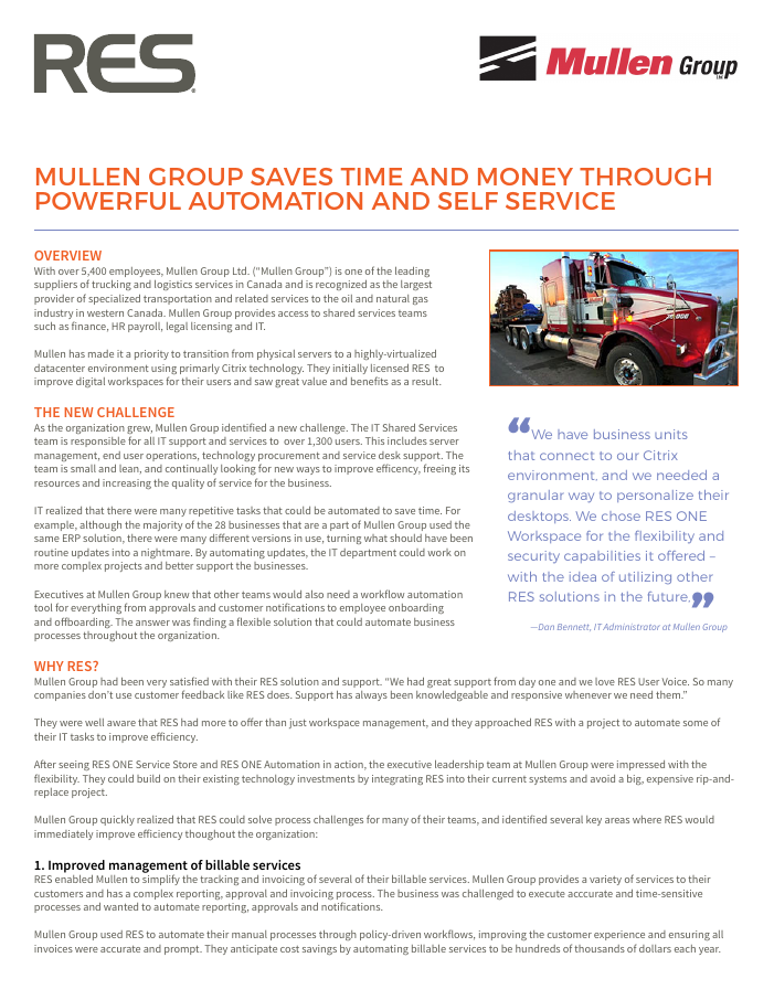 Mullen Group Saves Time and Money Through Powerful Automation and Self Service