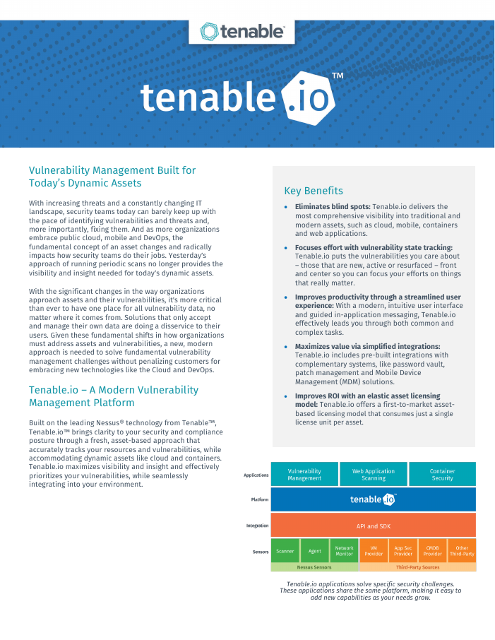 [Data Sheet] Tenable.io Platform